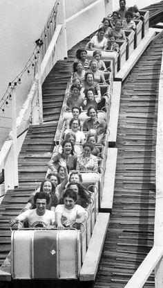 "1972: ""Taking a flyer at the ex: Holding on tight, visitors to the Canadian National Exhibition start the downward plunge on the roller coaster, the Flyer, on of the many exciting rides on the midway."" Photo by Boris Spremo. - Courtesy of Toronto Public Library & the Toronto Star Archives. Toronto City, Toronto Star, Mars Project, Canada Eh, Canadian History, Roller Coasters, Time Photo, Amusement Parks, Old Pictures"