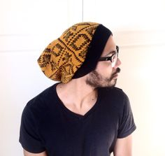 Beanie slouch Hat, Dread hat, soft stretchy, unique unisex clothing- orange black Afro print Knit- hipster - up cycled ecofriendly, guy gift