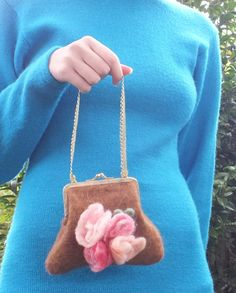 Felted Bag Purse  Alpaca Wool Sweet Brown Soft Flowers Decoration Metal Closure. $40.00, byFeltSoapGood via Etsy.
