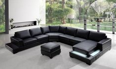 in by VIG Furniture in Brooklyn, NY - Divani Casa Ritz - Modern Leather Sectional Sofa Set. U Shaped Sectional Sofa, Sectional Sofa With Recliner, Leather Sectional Sofas, Modern Sectional, Modern Ottoman, Small Sectional, Sectional Furniture, Sofa Couch, Sofa Set