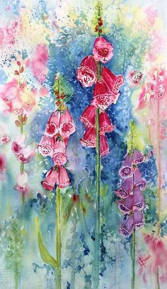 Foxgloves by Lorraine Brown Watercolour ~ x Watercolor Painting Techniques, Alcohol Ink Painting, Watercolor Artists, Watercolor Paintings, Watercolours, Watercolor Plants, Floral Watercolor, Watercolor Ideas, Flower Images