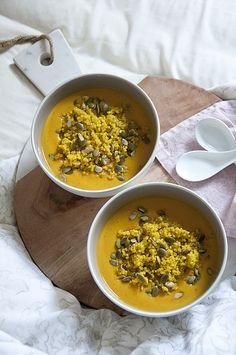 Sweet Potato, Butternut & Ginger Soup, served with Turmeric Quinoa #Vegan #PlantBased #GlutenFree #Soup #Autumn