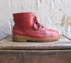 vintage c 1980s red leather hiking boots by MouseTrapVintage, $52.00