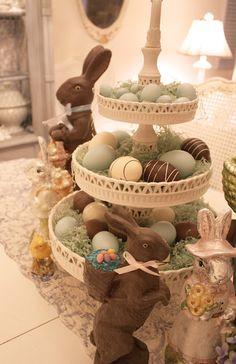 Chocolate Easter bunnies & chocolate eggs • Buffet  centerpiece