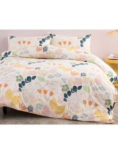 Update your bedroom with an edgy alternative to the typical floral with the Flora Duvet Cover Set from the Casa Linea range. It features a blend of hand-drawn botanical imagery in contemporary shades of navy, blush pink, mustard, dusky blue and rust.