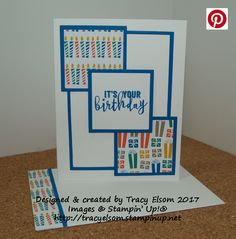 Simple masculine birthday card created using the Balloon Adventures Stamp Set and Party Animal Designer Series Paper from the Stampin' Up! 2017 Occasions Catalogue. http://tracyelsom.stampinup.net