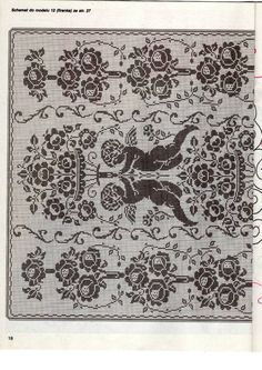 Kira scheme crochet: Scheme crochet no. Filet Crochet, Crochet Motif, Crochet Designs, Crochet Doilies, Crochet Lace, Knitting Stitches, Knitting Patterns, Crochet Patterns, Cross Stitch Angels