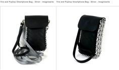 Smartphone Purse Shoulder Bag Upcycled Pop-Top Pull Tabs & Tire Tube Imaginarte.  Keep your Smartphone or other small essentials safe while you are on the go, in this bag made from reclaimed tire tubes and soda can pop top pull-tabs, collected at school sites by an artisan group in Mexico.   One of the greatest features of this highly fashionable and stylish bag is that it has both a removable wrist strap and an adjustable 30 to 60 inch shoulder strap, so you can choose it how to use it.