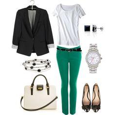 Kelly green skinnys and a blazer
