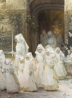 Theory girls in the procession of the Feast god (Hospital de Beaune), Henri-Jules-Jean Geoffroy. French (1853 - 1924)