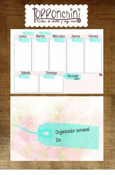 organizador semanal rosa