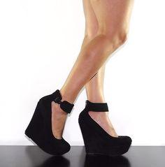 Womens Wedge Heel Platform Thick Ankle Strap Black Faux Suede Breckelles Cilo 41   eBay