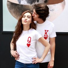 """Q and K heart red pocket Women tshirt Cotton Casual Funny t shirt Gift For Lady Yong Girl Top Tee Drop Ship Cute Couple Shirts, Couple Tees, Matching Couple Outfits, Matching Couples, Matching Shirts, Family Shirts, Couple Shirt Design, Shirt Print Design, Shirt Designs"