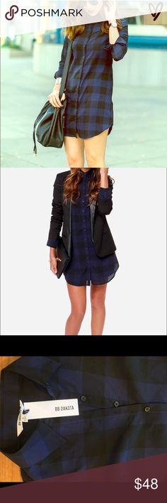 NWT BB DAKOTA KEENAN NAVY BLUE PLAID SHIRT DRESS! NWT! Plaid Shirt Dress! This lightweight, woven poly shirt dress has long cuffed and button sleeves, and a full-length button placket descending from the collared neckline. Shift shape and rounded bottom hem. Detachable slip lining included. 100% Polyester. Hand Wash Cold or Dry Clean. BB Dakota Dresses Mini