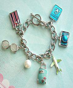 i love to travel charm bracelet