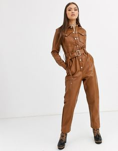 Buy Neon Rose belted boilersuit in faux leather at ASOS. Get the latest trends with ASOS now. Leather Jumpsuit, Suede Pants, 90s Fashion, Girl Fashion, Womens Fashion, Style Bleu, Neon Rose, Suits For Women, Clothes For Women
