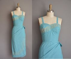 vintage 1950s dress/50s  sea form blue cotton by simplicityisbliss
