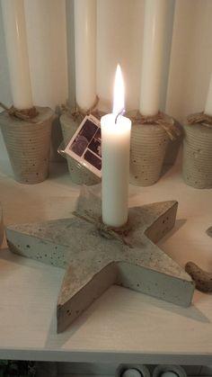 Concrete decoration for Christmas - DIY ideas and tips - Candle holder Diy concrete decoration ideas - Cement Art, Concrete Crafts, Concrete Art, Diy Candle Holders, Diy Candles, Christmas Crafts, Christmas Decorations, Beton Diy, Diy Crafts To Do