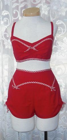 Red Cotton Bikini Top & ShortsPlaysuit Pinup Girl by Morningstar84, $110.00