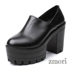 Black Chunky Sole Block High Heels Platforms Pumps Ankle Boots Shoes