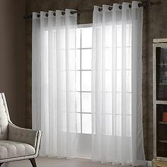 Two+Panels+White+Solid+Sheer+Curtains+Drapes++–+AUD+$+46.32