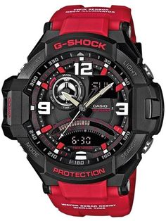 Red and Black Aviator G-Shock. Part of the G-Shock Premium Aviator range and includes features such as a Thermometer, Digital Compass and water resistance.