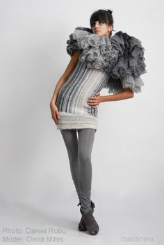 Interlaced Gray Dress Tunisian Crochet 'Alternative by MariaHera #crochetinspiration This would be fun for a crazy clown costume