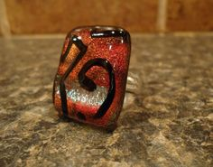 Abstract glass fused ring.  A Kelsey Simon Original.