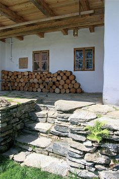 * Garden Stones, Firewood, Stepping Stones, Sustainability, Ikea, Arch, Stone Walls, Rustic, Building