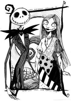 Jack And Sally Nightmare Before Christmas Coloring Page