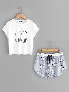 Loungewear by BORNTOWEAR. Cartoon Eye Print Tee And Shorts Pajama Set