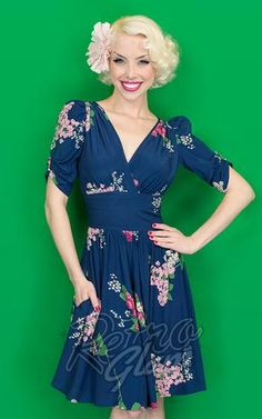 Trashy Diva 40s Delores Dress in Crimson Clover
