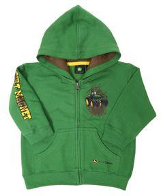 John Deere Zip Up Green Hooded Fleece