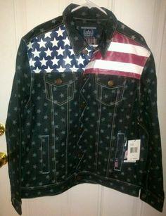 USA,World Cup Soccer, Stars & Stripes. Heavy Denim Jacket. XL.Adult *****NEW**** #Akomks #USA
