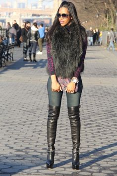 Black fun and amazing over the knee boots
