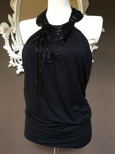 Roberto Rodriguez black knit beaded collar halter top size M    eBay