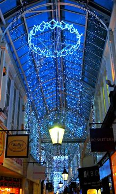 Cardiff, South Wales at Christmas. Cardiff's Winter Wonderland and Christmas Market. This is one of the many fabulous arcades in Cardiff City centre.  http://worldtravelfamily.com/cardiff-wales-christmas-winter-wonderland/