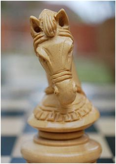 Just look at this knight! Beautiful and deadly, ready to defend! Made from the finest wood and crafted with skill! A unique and beautiful set. X5005. Brought to you by ChessBaron.co.uk