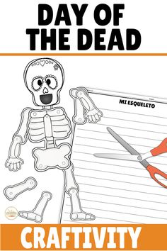 Check out this writing activity and build a skeleton craft for Day of the Dead! TEN different templates to choose from with a variety of sugar skulls or a plain skull and skeleton to provide choice to your students! This is perfect for Halloween or Día de los Muertos in your elementary, middle, or high school classroom! Seasonal and fun! Great for summarizing what they learned about Dia de Muertos or practicing body parts and descriptions! Middle School Spanish, Spanish Class, Spanish 1, Preschool Spanish, Teaching Spanish, Spanish Lesson Plans, Spanish Lessons, Class Activities, Writing Activities