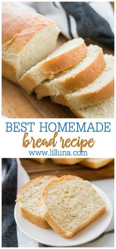 The BEST Homemade Bread recipe - the most delicoius, most fluffy loaf of homemade white bread! Tastes so much better than store bought and is easy to make too Basic White Bread Recipe, Best Homemade Bread Recipe, Homemade White Bread, Fluffy Bread Recipe, Loaf Recipes, Easy Bread Recipes, Banana Bread Recipes, Cooking Recipes, Amish Recipes