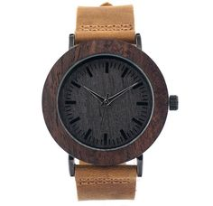Bezel and Ebony Wood Watch with Leather Strap - Women Stylish Watches, Watches For Men, Gifts For Women, Ladies Gifts, Men Gifts, Wooden Watch, Natural Leather, Natural Wood, Leather Design