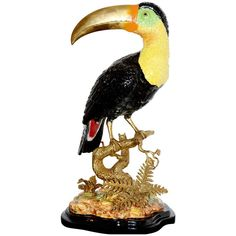 Toucan Sculpture in Solid Porcelain Hand-Painted Finish and Solid Bronze | From a unique collection of antique and modern sculptures at https://www.1stdibs.com/furniture/decorative-objects/sculptures/