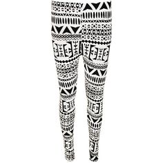 Franny Aztec Print Leggings (48 PLN) ❤ liked on Polyvore featuring pants, leggings, multi, stretch waist pants, stretchy pants, white stretch pants, white leggings and white trousers