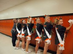 Custom Sashes made for Senior Night with each girl's name. The back of each sash was used for the other team members to sign and/or write something special for each cheerleader. Senior Night Recognition for Cheerleaders on the last night they cheer.