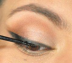 To get a perfect liquid eyeliner application, first apply pencil liner and use it as a stencil for your liquid liner.