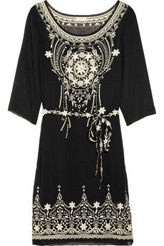 Collette by Collette Dinnigan  Belted embroidered chiffon dress