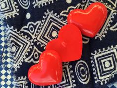 Three giant red shiny vintage heart buttons, great for sewers, knitters, crafters, Vintage red sweet hearts, shiny red buttons!  with Love! by TwoSwansSwimming on Etsy