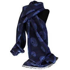 Unisex Rich Kid Skull Scarf - Navy & Blue - The Online Gift Shop Cheap Scarves, Wholesale Scarves, Skull Scarf, Online Gift Shop, Winter Gear, Rich Kids, Gothic Outfits, Scarf Styles, Alexander Mcqueen Scarf