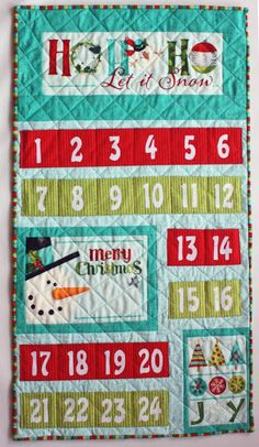 Sew in Love {with Fabric}: Christmas in July Blog Hop: Day 1-a tutorial to make an advent calendar using Nancy Halvorsen's Ho-Ho-Ho, Let It Snow collection!
