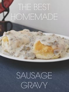 "I've had this about twice in my life. Can be yummy, I think, but don't need. Someone wrote: ""The Best, Homemade Sausage Gravy _ I love biscuits and gravy more than anything else when it comes to breakfast food! Breakfast Dishes, Breakfast Recipes, Brunch Recipes, Breakfast Potluck, Breakfast Energy, Breakfast Cooking, Breakfast Biscuits, Breakfast Options, Dinner Options"